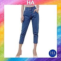 Quần Baggy Jean Nữ Lưng Cao H&A Fashion Màu Xanh 9 Tấc TBQBG26