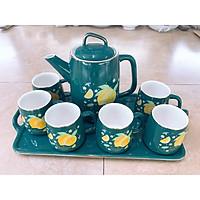 Bộ ấm chén kèm khay  sứ Tea Set pha trà cà phê màu xanh cổ vịt họa tiết  hoa quả chanh - ANTH241