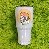 Ly giữ nhiệt Thái Lan 900ml _ tặng 2 ống hút inox + 1 túi xách + 1 cọ rửa ống hút _ gấu trắng