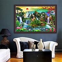 Tranh dán tường SƠN THỦY HỮU TÌNH in giấy ảnh với 2 lựa chọn bề mặt cán PVC gương hoặc cán bóng kính,Mã số: 00400830L12