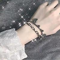 Lắc tay nữ 2 lớp cực cá tính - vòng tay dây xích treo trái tim