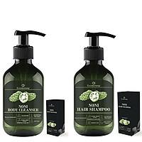 Combo Dầu Gội & Sữa Tắm Chiết Xuất Trái Nhàu Eccomorning 500ml/Chai - Natural Handmade Noni Body Cleanser & Hair Shampoo