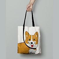 Túi Vải Tote Cao Cấp, Dày Dặn Vải Canvas Hình Chú Cún, Basic Dễ Phối Đồ