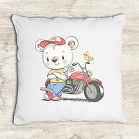 Gối tựa lưng trang trí in hình gấu con và moto G251