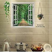 Decal dán tường cửa sổ xanh ay823