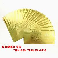 Combo 20 tờ lưu niệm 100 hình con Trâu, chất liệu nhựa plastic mạ một lớp màu vàng, dùng để trang trí trong nhà, làm tiền lì xì dịp Tết Tân Sửu 2021, treo trên cây mai, bỏ vào túi xách - SP005095