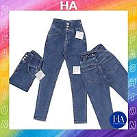 Quần Jean Nữ Lưng Cao Màu Xanh Trơn H&A Fashion 3 Nút Đai Chéo KVQJN506