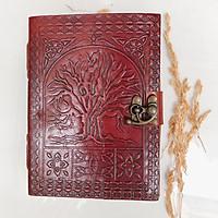 Sổ tay handmade bìa da thật  màu nâu đỏ giấy tái chế - Handmade Sketchbook Tree of life - Handmade leather journal
