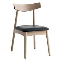 Ghế bàn ăn JYSK Lynghoml khung sồi bọc đệm đen 48x81x55cm