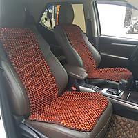 Đệm hạt gỗ tựa lưng massage lót ghế ô tô 100% gỗ Hương tự nhiên, đan kết diềm mép cao cấp - Kích thước (D X R): 1,24 X  0,48 (M) - Trọng lượng: 2,4Kg