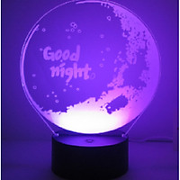 Đèn LED 3D quà tặng đặc biệt chúc ngủ ngon 7 màu