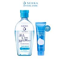 Nước sữa tẩy trang 2 lớp Senka Milky 230ml tặng Sữa rửa mặt Senka Perfect Whip 50g