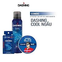 Combo Dashing Essensial: Xịt khử mùi Cool Aqua 125ml & Nước hoa bỏ túi Cool Aqua 18ml & Sáp vuốt tóc Dashing Revo 75g