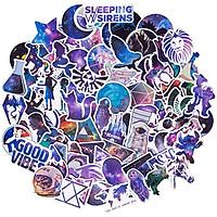 Set 60 Sticker chủ đề màu galaxy ảnh ép lụa