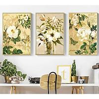 Set 3 tranh canvas hoa trắng phong cách vintage HO0179