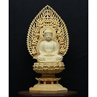 Tượng Bổn Sư Thích Ca Mâu Ni - làm bằng gỗ Hoàng Dương- kích thước (DxRxC) 12x12x28.5cm