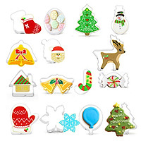 Tailored 15pc Christmas Cutter Decorating Mould Cake Frame  Stainless Steel Cookies Mold