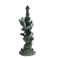 Tượng Đá Trang Trí Rồng Phong Thủy - Kiếm Rồng Cao 41cm - Đá Xanh Lục Bích