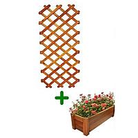 COMBO Khung giàn gỗ Caro C180cm & chậu gỗ chữ nhật D85cm GREENHOME-Trang trí sân vườn, trồng cây dây leo-chống mối mọt, chịu được mọi thời tiết