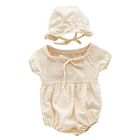 Lovely Infant Summer Round Collar Puff Sleeve Solid Color Girls Jumpsuit Climb Soft +Hat 2pcs Set 0-3Y Newborn Clothes