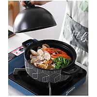 Nồi gốm sứ chuyên dụng  kho cá chịu nhiệt tốt - Gọn gàng trong nhà bếp - Nồi chịu nhiệt mẫu kẻ sọc đen trắng