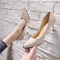 Giày cao gót nữ da mềm gót nhọn dẫm gót 7cm hàng Quảng Châu cao cấp CC08