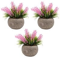 3Pcs Mini Artificial Potted Plants Faux Green Grass Pot Simulation Greenery Decor for Home Office Desktop Decoration