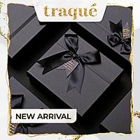 Set hộp quà + túi giấy cao cấp  – đen trang trí nơ 20x18x8 cm