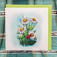 Thiệp Giấy Xoắn Hoa - Hoa Cúc Trắng - ZC294