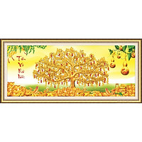 Tranh thêu chữ thập Cây Tiền Vàng (122*55cm) chưa thêu
