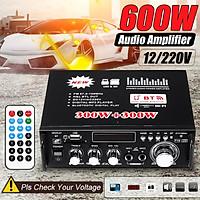 12V 220V 2CH 600W Digital Power Amplifier bluetooth 5.0 HIFI FM Stereo Radio MP3