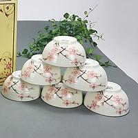 Bộ bát ăn cơm men kem hoa Đào cao cấp chính hãng Bát Tràng
