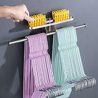 Giá treo móc kẹp phơi quần áo cho gọn 2 tầng HOBBY GPM4 dán tường gạch men - 2 có kích thước tùy chọn và có keo dán sealant