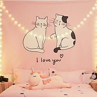 Tranh vải treo tường TV20 - COUPLE CAT Marytexco décor nhà cửa, phòng ngủ, phòng trọ sinh viên KT 150*130cm TẶNG kèm 4 đinh + 4 kẹp + ĐÈN LED USB 6M