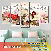 Bộ 5 tấm tranh treo tường chim công  hoa mẫu đơn 3D_mã 28
