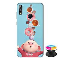 Ốp lưng điện thoại Asus Zenfone Max Pro M2 hình Heo Con Ăn Bánh tặng kèm giá đỡ điện thoại iCase xinh xắn - Hàng chính hãng