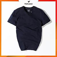 Áo thun nam trơn cổ tròn, áo ngắn tay không cổ TS306 TORANO, vải cotton mềm, co giãn, dầy dặn