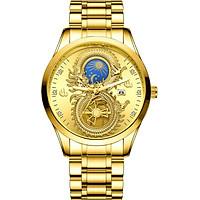 Đồng hồ nam FNGEEN fn668 Mặt rồng 3d cuộn hình số 8 dây thép không gỉ cao cấp