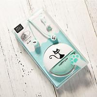 Tai nghe nhạc Eranc Hàn Quốc có hộp quấn chống rối hình mèo dễ thương