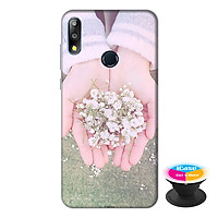 Ốp lưng điện thoại Asus Zenfone Max Pro M2 hình Đôi Tay Hoa Hồng tặng kèm giá đỡ điện thoại iCase xinh xắn - Hàng chính hãng
