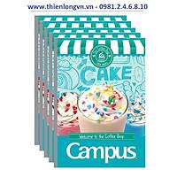 Lốc 5 quyển vở kẻ ngang 120 trang B5 Coffee Shop Campus NB-BCOF120 màu xanh