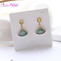 Bông tai hình quạt đính đá Opal xanh