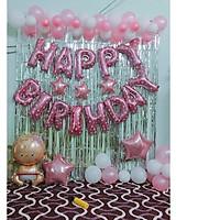 combo bóng bay  trắng - hồng trang trí sinh nhật cho bé