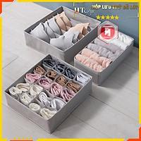 Hộp đựng đồ lót bằng vải HT SYS- Hộp lưu trữ đồ lót gấp gọn 3 trong 1