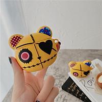 Ốp - Bao dành cho airpods 1/2/3/pro hình gấu vàng mắt tim đáng yêu, chất silicon dẻo mịn dày dặn