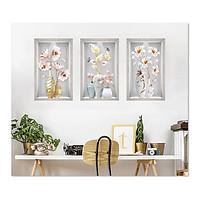 Decal dán tường bộ 3 ô tường bình hoa đẹp Bo3BinhHienDai_004