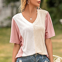 Women Loose T-shirt Contrast Color Splicing Half Sleeve V Neck Tees Holiday Casual Tops