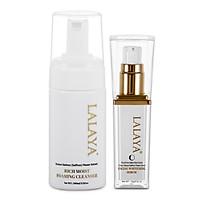 Bộ đôi Serum dưỡng trắng da mặt Facial Whitening Serum dành cho mọi loại da và Sữa rửa mặt tạo bọt Rich Moist Foaming Cleanser dịu nhẹ làm sạch sâu & giảm nhờn công thức không xà phòng Lalaya LLYC4