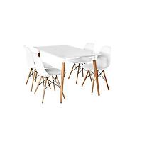 Bộ bàn TH04  4 ghế 600x1200x750mm - Trắng