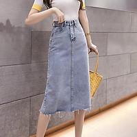 Chân váy jean bút chì BIG SIZE co dãn mạnh dài qua gối màu xanh nhạt rẻ đẹp 3170